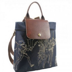 Longchamp Embroidered Backpack Deep Blue