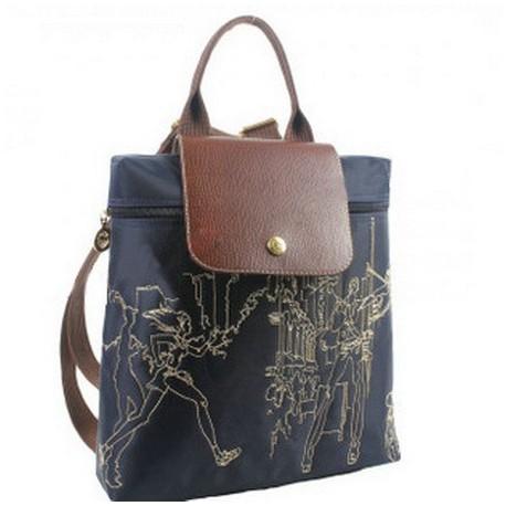 Plecak z haftem Longchamp Głęboki Niebieski