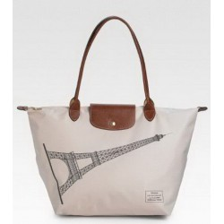 Longchamp Eiffelturm Tote Weiß