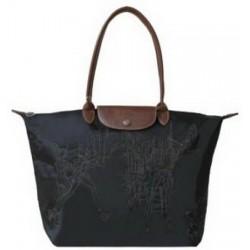 Haftowane torby Longchamp czarne