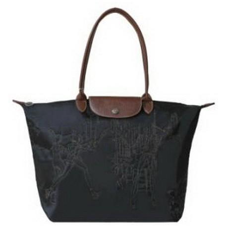 Longchamp Vyšívané tašky černé