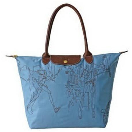 Haftowane torby Longchamp Niebieski