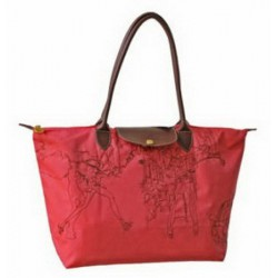 Longchamp Bestickte Taschen Korallenrot