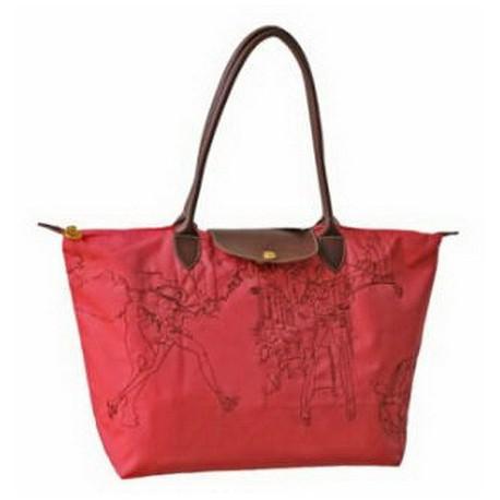 Haftowane torby Longchamp Coral Czerwony