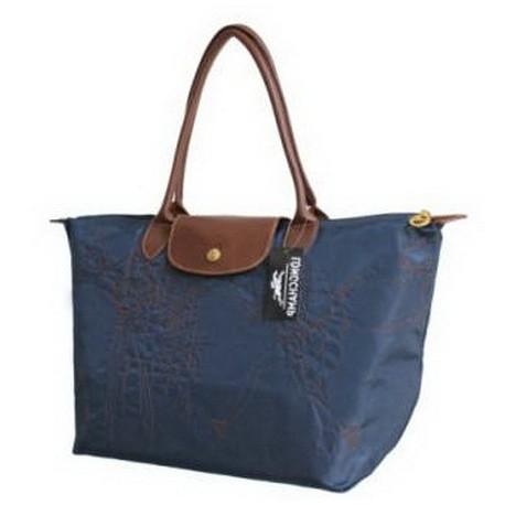 Haftowane torby Longchamp Głęboki Niebieski