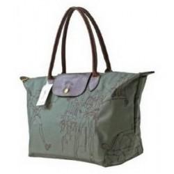 Longchamp bestickte Taschen Olivgrün