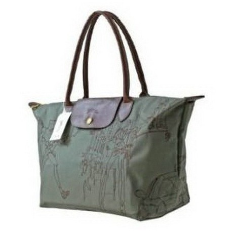 Haftowane torby Longchamp Olive Zielony