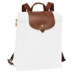 Longchamp Le Pliage Reißverschluss-Rucksack Weiß