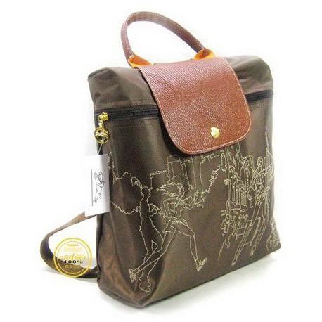 Plecak z haftem Longchamp Głęboki Brązowy