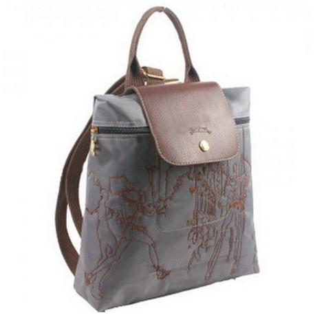 Plecak z haftem Longchamp Szary