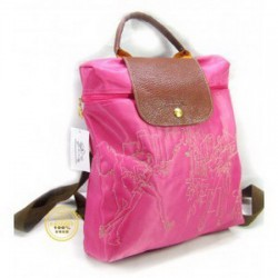 Longchamp Embroidered Backpack Pink