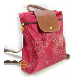 Longchamp Embroidered Backpack Red