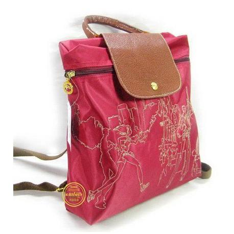 Plecak z haftem Longchamp Czerwony