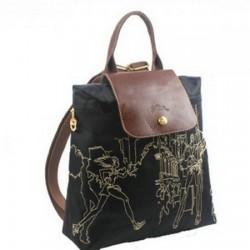 Plecak z haftem Longchamp w kolorze czarnym