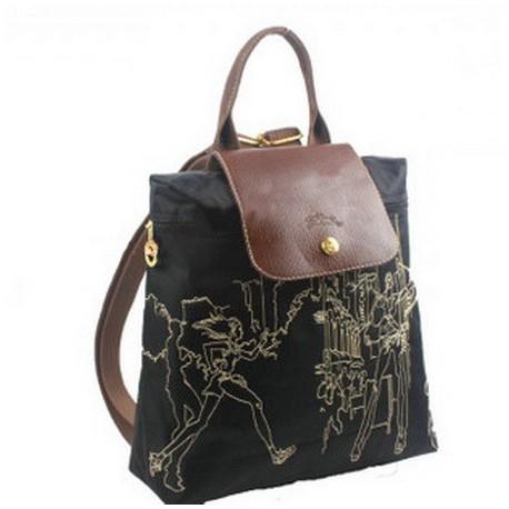 Longchamp bestickter Rucksack schwarz