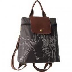 Longchamp Embroidered Backpack Coffee
